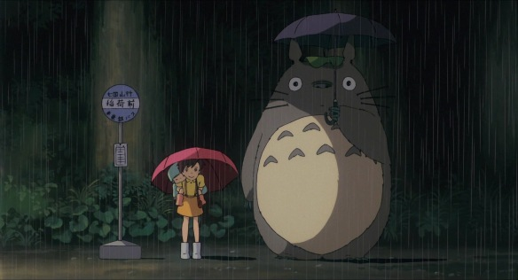 Totoro in the rain