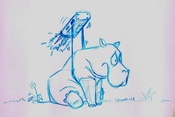 Hippo with a jet pack